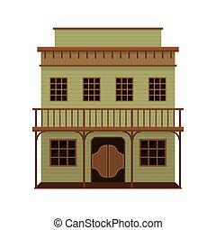 木製である, ベクトル, doors., 振動, house., 古い, アメリカ人, 大広間, ポーチ, architecture., 西, 平ら, アイコン, two-storey, 野生