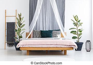 木製である, ベール, 上に, 白, ベッド