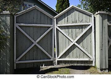 木製である, ペンキ, 割れた, 古い, 門