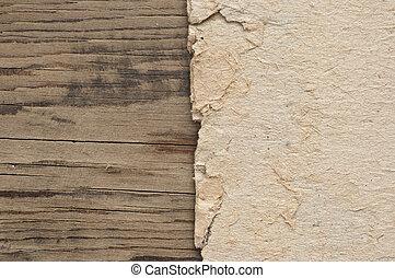 木製である, ペーパー, グランジ, 壁