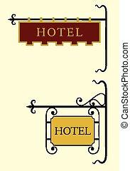 木製である, ホテル, ドア, 印
