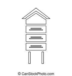 木製である, ミツバチの巣, アイコン, スタイル, アウトライン
