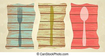 木製である, メニュー, 上に, cutlery, 手ざわり