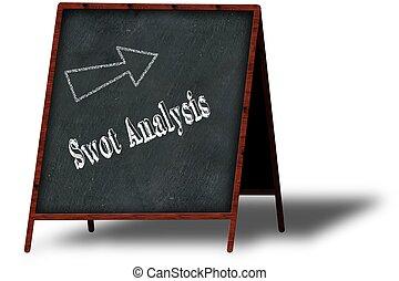 木製である, メニュー, blackboard., 分析, チョーク, swot