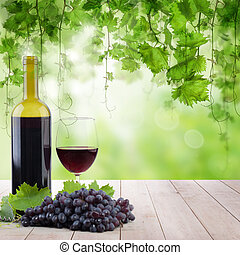 木製である, ライト, ライト, 朝, ブドウ園, ガラスビン, テーブル, 赤ワイン