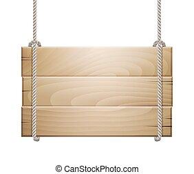 木製である, ロープ, 掛かること, 板, 印