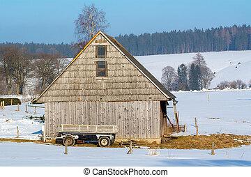 木製である, ワゴン, 古い, 納屋