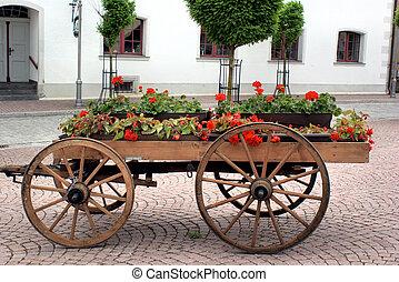 木製である, ワゴン, 花