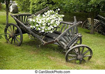 木製である, ワゴン, 花, 古い, 満たされた