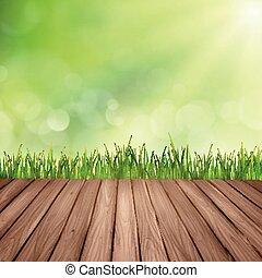 木製である, 上に, ぼやけた背景, テーブル, 草, 抽象的