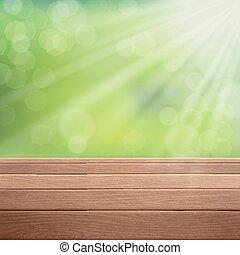 木製である, 上に, ぼんやりさせられた, 緑の背景, テーブル