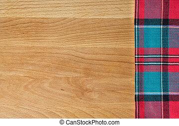 木製である, 上に, まな板, 背景, テーブルクロス