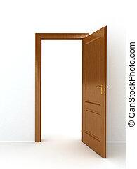 木製である, 上に, ドア, 白い背景