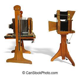 木製である, 上に, ブラウン, 写真, 白, 型, 背景, 古い, 隔離された, カメラ