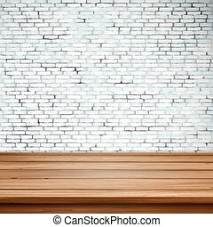 木製である, 上に, 壁, テーブル, 白い煉瓦