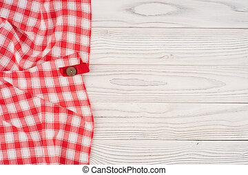 木製である, 上に, 折られる, 漂白された, テーブルクロス, テーブル。, 赤