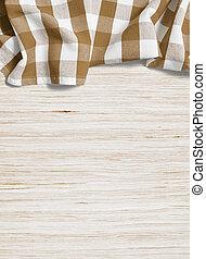 木製である, 上に, 折られる, 漂白された, テーブル, テーブルクロス