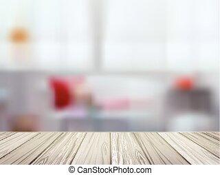 木製である, 上に, 現場, ぼんやりさせられた, テーブル, 台所
