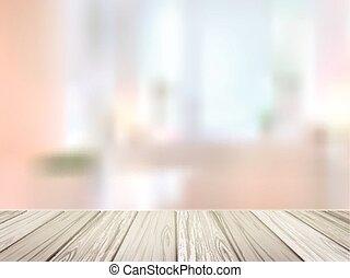 木製である, 上に, 現場, ぼんやりさせられた, 机, 内部