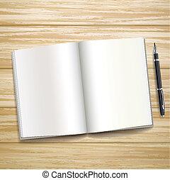 木製である, 上に, 空白の本, 机, 開いた