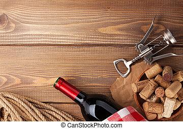 木製である, 上に, 背景, コルク, コルクせん抜き, テーブル, びん, 赤ワイン