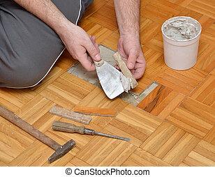 木製である, 人, gluing, 床