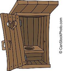 木製である, 便所, 古い, バラック