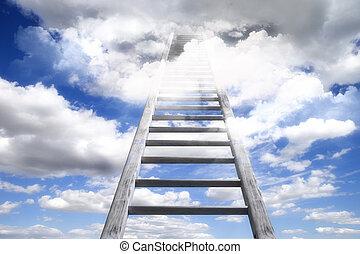 木製である, 先導, はしご, 天国