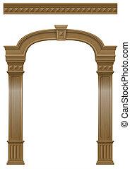 木製である, 入り口, ドア, アーチ, コラム