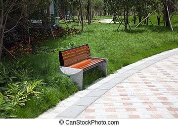木製である, 公園のベンチ
