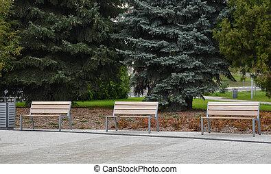 木製である, 公衆, ベンチ, 都市で, 公園