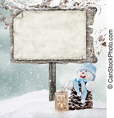 木製である, 冬, ムード, 空, 印