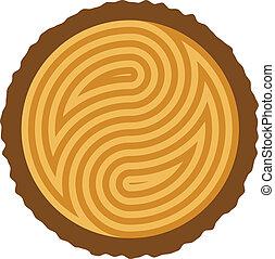 木製である, 切口, 丸太, ベクトル