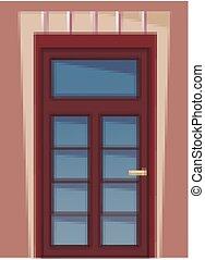 木製である, 前部, イラスト, s, 家, 壁, ドア, 建物, 部分, ファサド, 外面