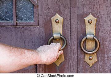 木製である, 古い, オーク, ドア