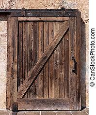 木製である, 古い, ドア, 滑っている, 手ざわり