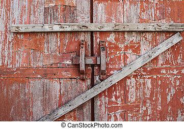 木製である, 古い, ドア, 赤