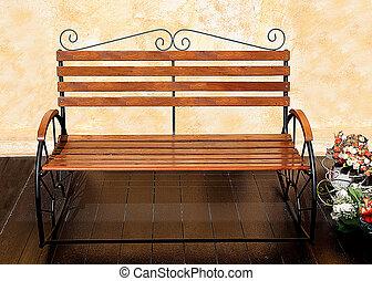 木製である, 古い, ベンチ