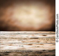 木製である, 古い, 上, グランジ, テーブル