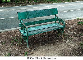 木製である, 古い, 公園のベンチ