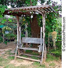 木製である, 古い, 庭ベンチ