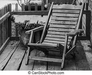 木製である, 古い, 椅子, よりかかる, 庭