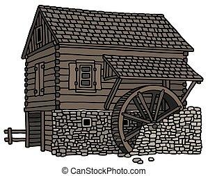 木製である, 古い, 水力製粉所