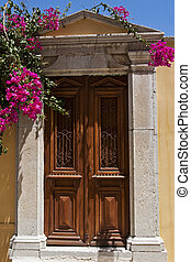 木製である, 古い, 花,  bougainvillea, ドア