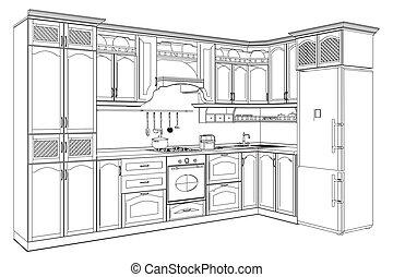 木製である, 台所