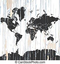 木製である, 地図, 世界, 背景, 型