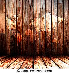 木製である, 地図, 部屋