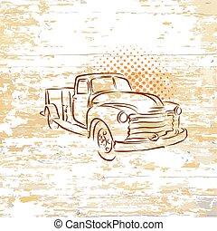 木製である, 型, ピックアップ トラック, 背景