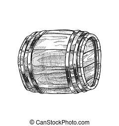 木製である, 型, ベクトル, 引かれる, 樽, 側, あること, 光景