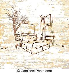 木製である, 型, ホテルの部屋, 背景